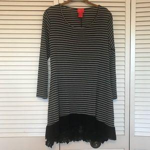 Tops - V Christina striped tunic w/ lacy under shirt